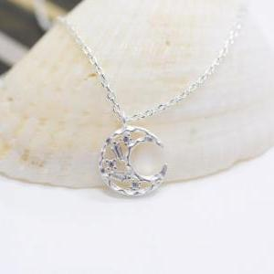 Silver Moon Necklace, crescent moon..