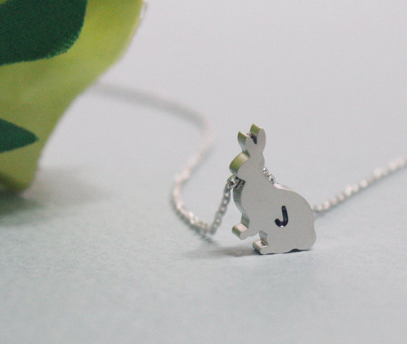 Personalized Initial Necklace, Personalized rabbit necklace , initial jewelry