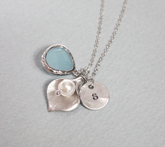 Lily necklace, initial necklace, initial coin, personalized necklace, Light blue pendant