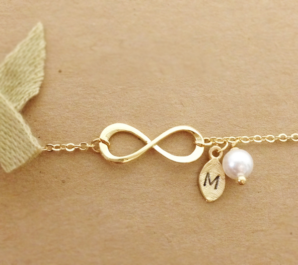 Infinity Bracelet Personalized Initial Gold Leaf Charm Best Friend Coin