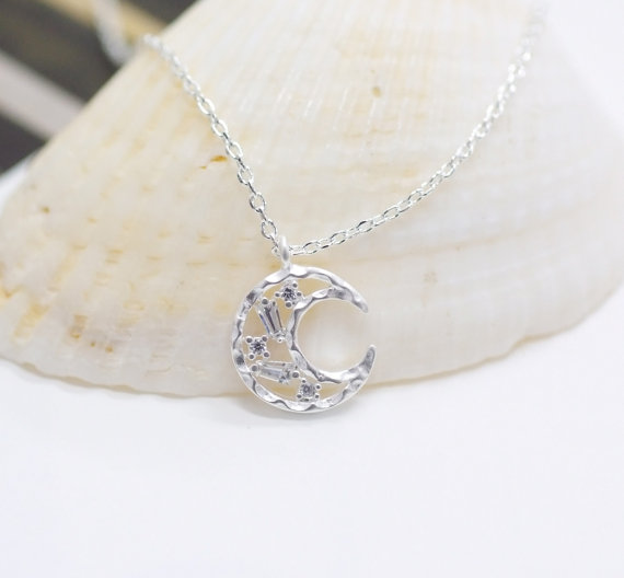 Silver Moon Necklace, crescent moon necklace, crystal moon necklace, Smile Moon Necklace, Tiny crescent moon