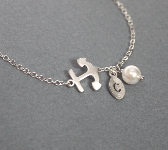 Anchor bracelet, friendship gift, best friend, initial bracelet, initial leaf and anchor, personalized bracelet