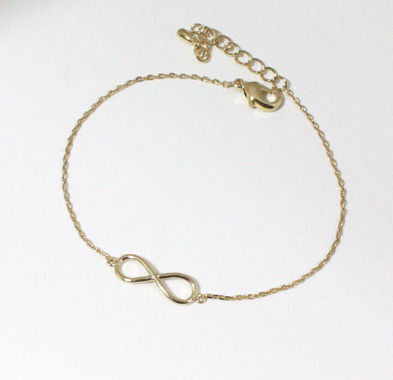 Simple Infinity bracelet , gold / white gold ( Choose your color )
