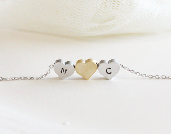Personalized initial three heart necklace, initial jewelry