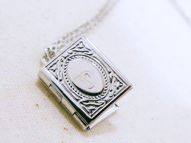 Secret initial book locket necklace on luulla secret initial book locket necklace aloadofball Images
