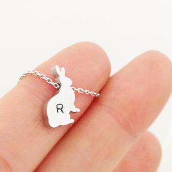 Personalized Initial Rabbit necklace, initial jewelry