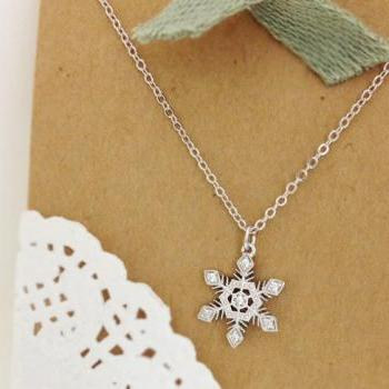 Crystal Snowflake Necklace in White Gold, Christmas Gift, For winter