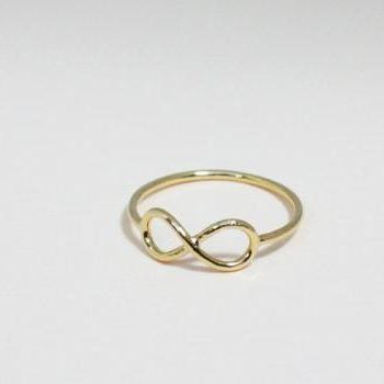 Infinity ring 6 size in gold - everyday jewelry, delicate minimal jewelry, Happy price for this ring!   $13 => $7!!!