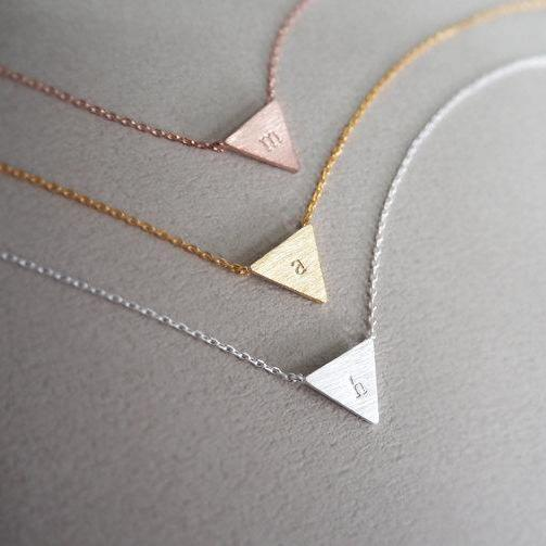 Personalised Triangle Initial Engraved Necklace - Gold , Silver , Rose Gold